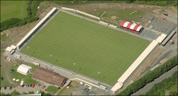 Liberty Way Stadium - the home of Nuneaton Town FC (aerial photograph © Bing Maps)