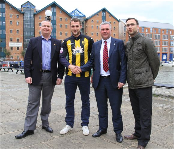 New signing Sam Avery with Stuart Pike, Tim Harris and Matt Rose at Gloucester Docks