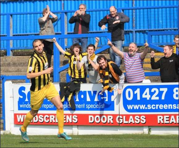 Nick Wright looks cool as the City fans celebrate his fifth minute opener