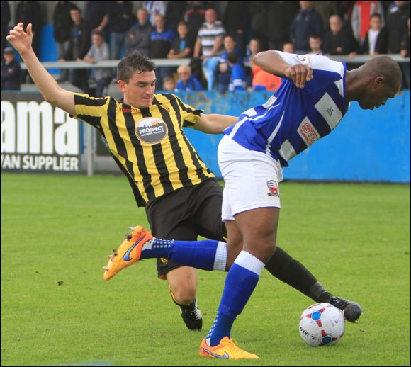 City star Billy Jones makes light work of tackling Marlon Harewood at Nuneaton