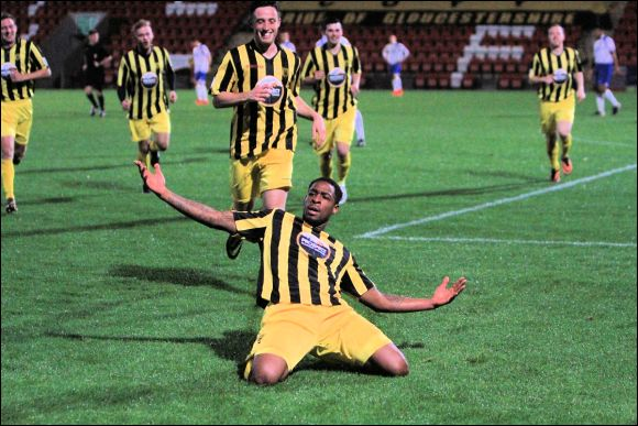 Nathan Modest celebrates after putting City two-up against Staines