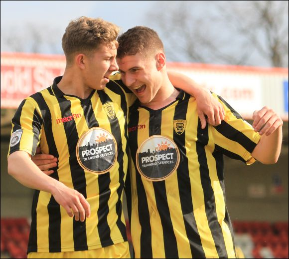 On loan youngsters Harry Williams and James Bowen celebrate the formers goal